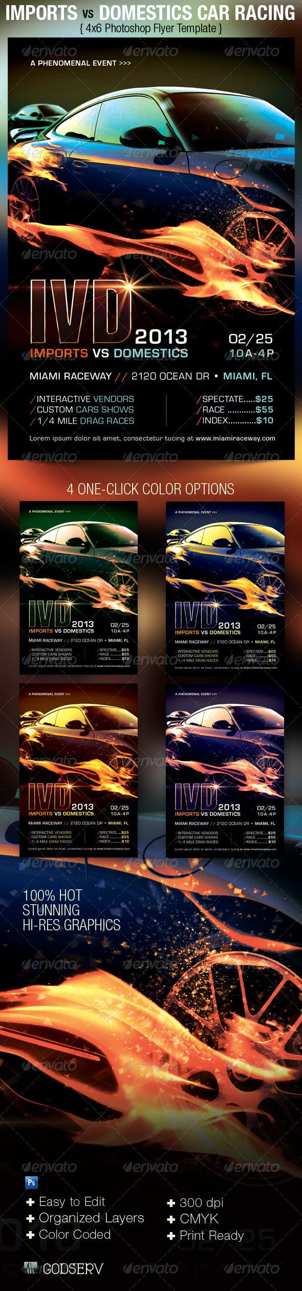 car racing flyer template by godserv graphicriver