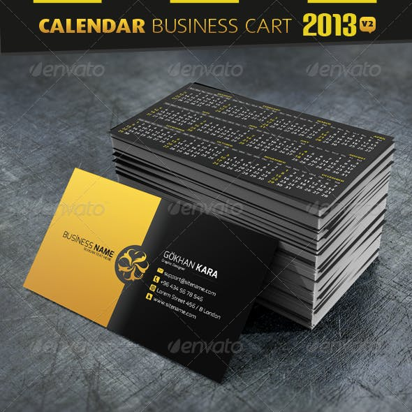 Calendar Business Cardvisit And Calendar Card Corporate Business