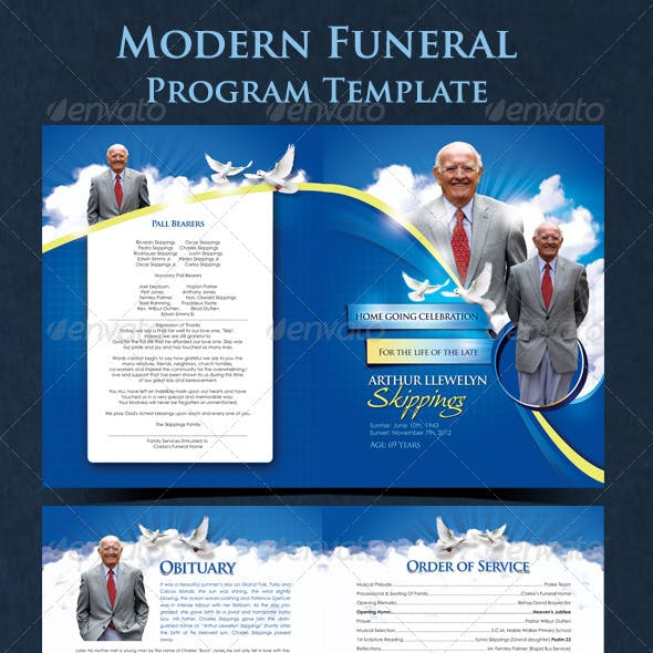 Modern Funeral Program Graphics Designs Templates