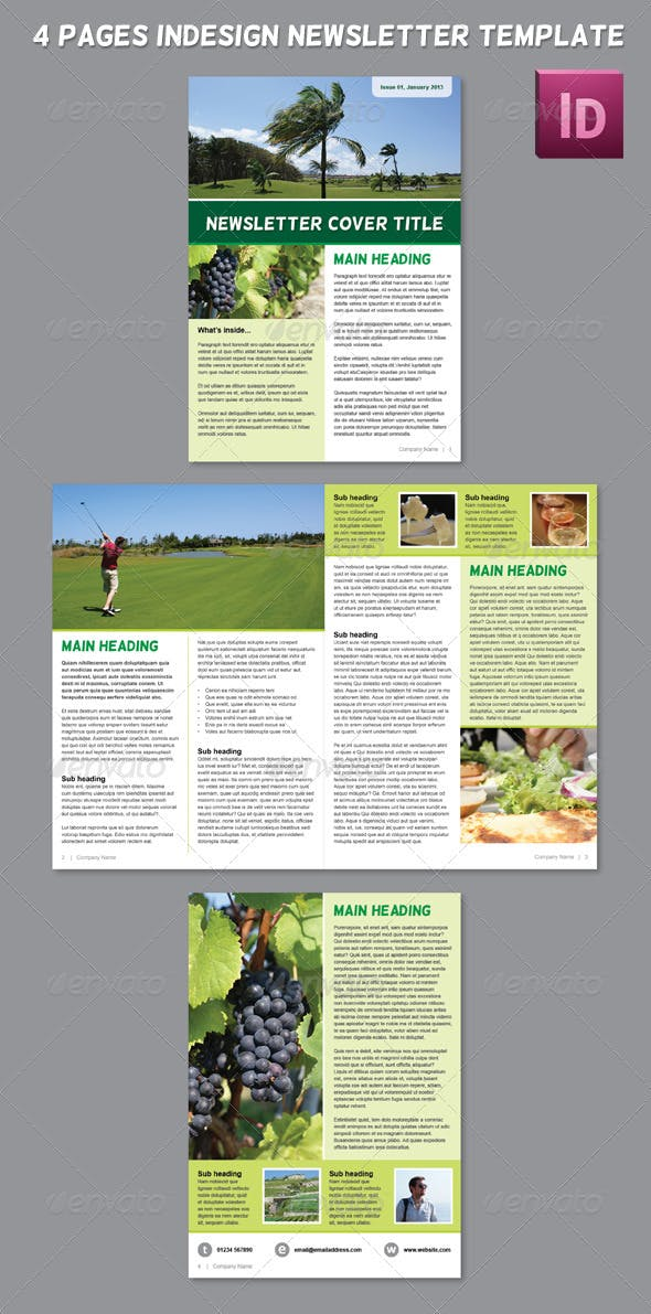 4 Pages Indesign Newsletter Template By Burty83 Graphicriver