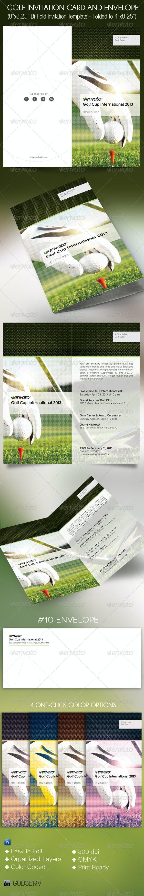 golf invitation card envelope template by godserv graphicriver