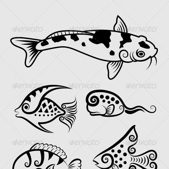 Arowana Fish and Koi Fish Graphics, Designs & Template