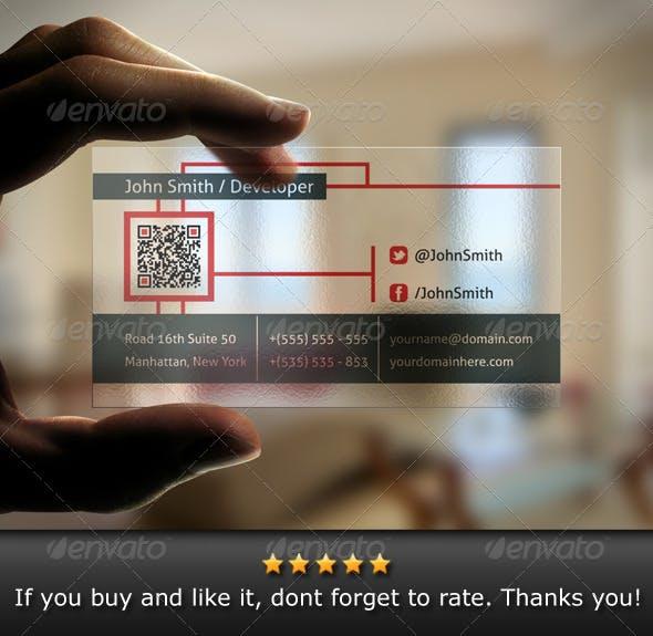 Transparent Qr Code Business Card By Bosstwinsart Graphicriver