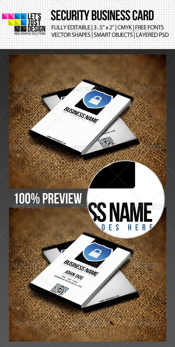 Minimal Security Business Card By Letsjustdesign Graphicriver