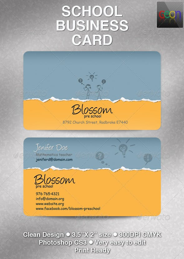 School Business Card Excellent For Teachers By Geon Graphicriver