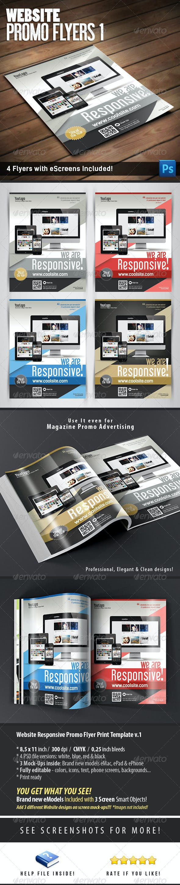 website responsive promo flyers template v 1 by level studio