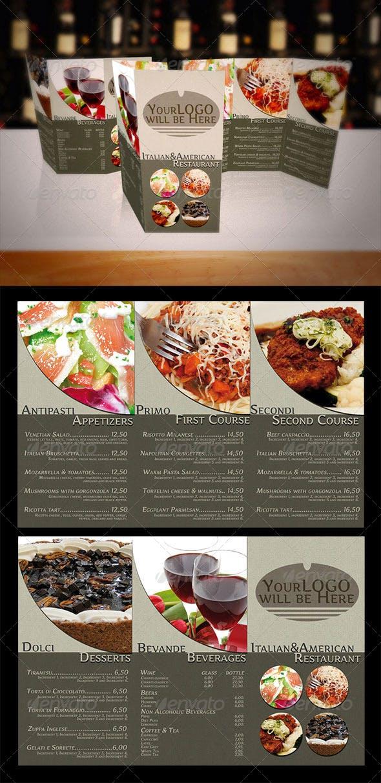 italian american food menu trifold brochure by theavain graphicriver