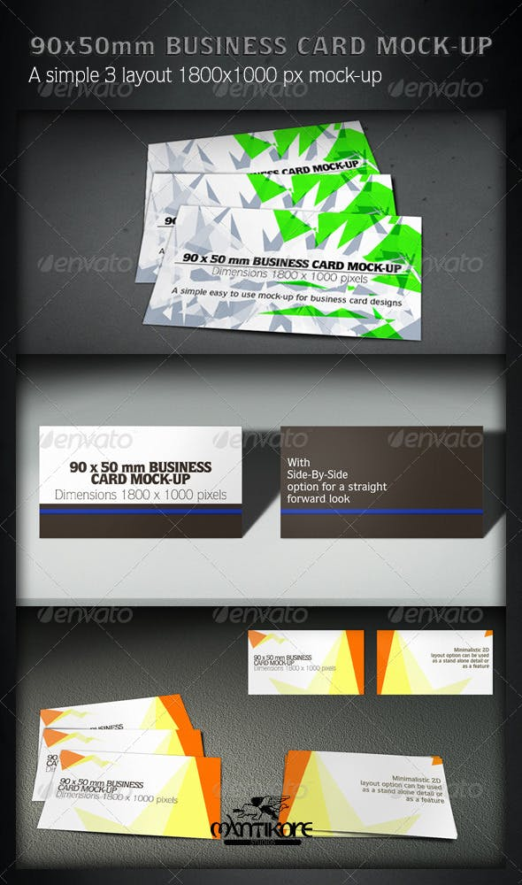 90x55mm Business Card Mock Up By Mantikore Graphicriver