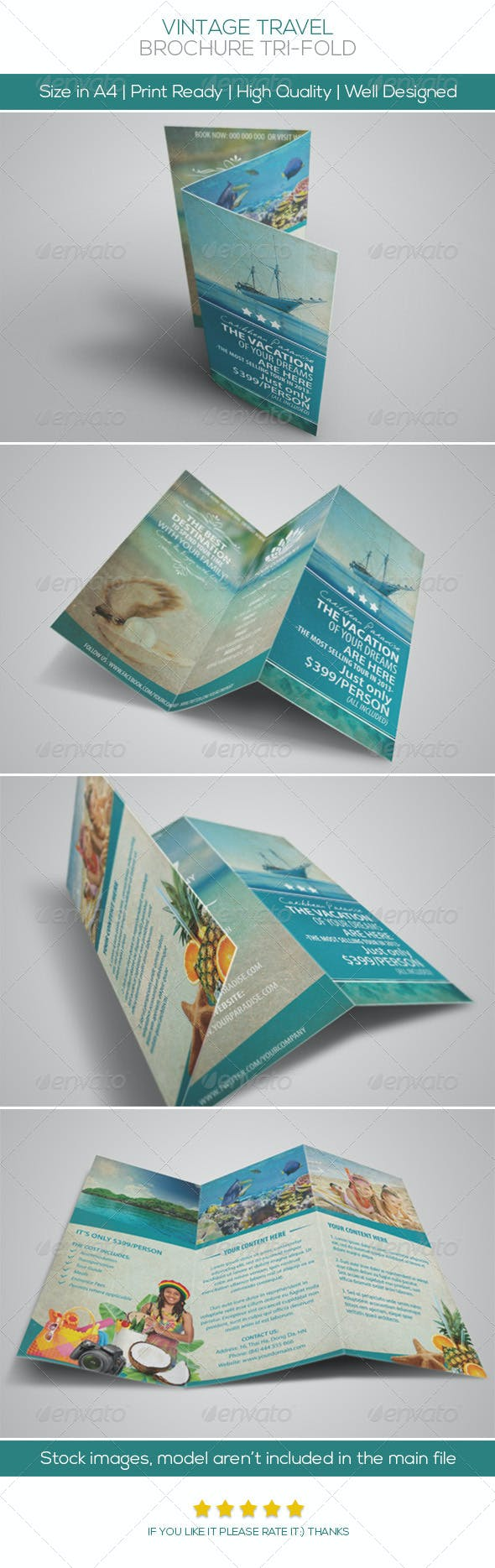 vintage travel brochure tri fold by hoanggiang12 graphicriver