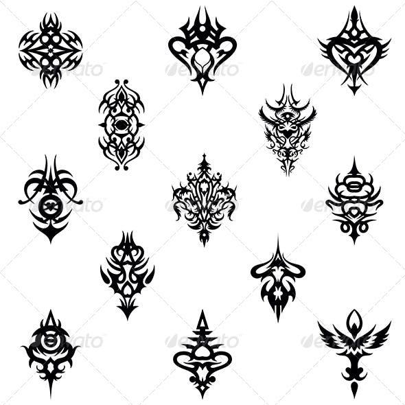 Tribal Tattoo Design Elements Vector Pack By Vecras Graphicriver
