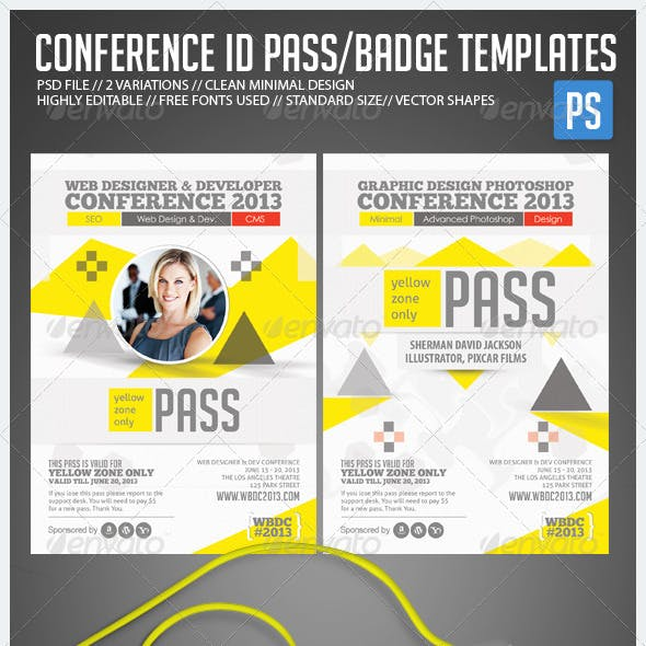 conference badges graphics designs templates