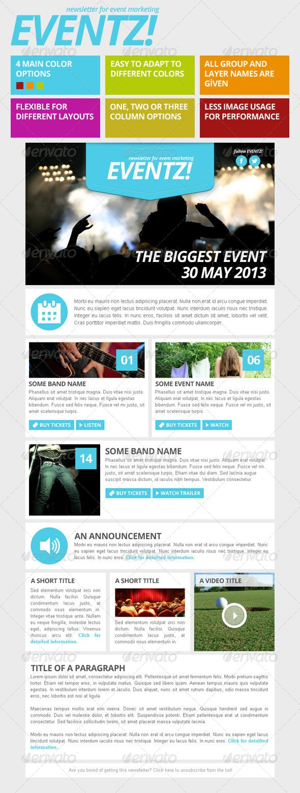 eventz event marketing newsletter template by vizivig graphicriver