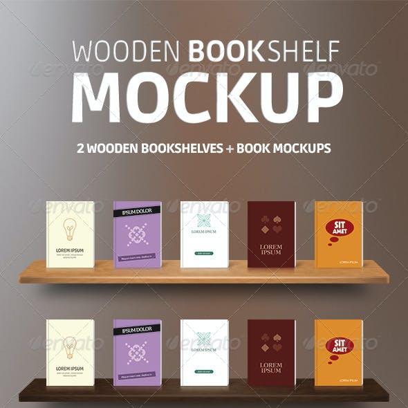 Wooden Bookshelves Book Mockup PSD