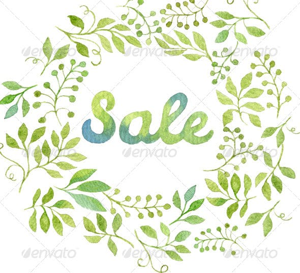 watercolor leaves wreath with the word sale by helga wigandt