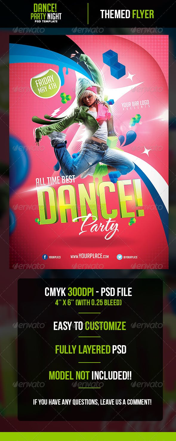 dance party flyer template by odin design graphicriver