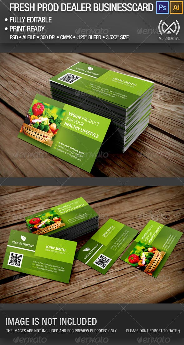 Fresh Product Dealer Business Card By Mjcreative Graphicriver