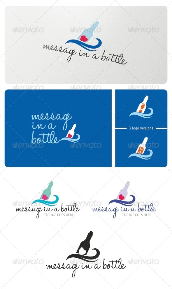 message in a bottle logo template by bicone graphicriver