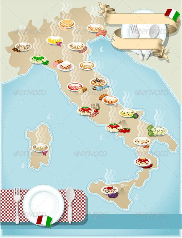 Regional Italy Map.Map Of Regional Pasta In Italy By Aurielaki Graphicriver