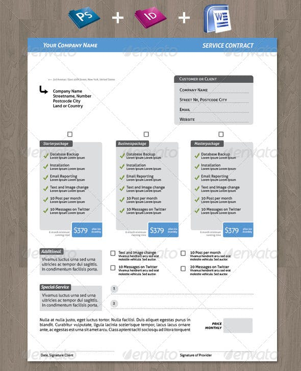 Clean Creative Service Contract For Your Business By Offi Graphicriver