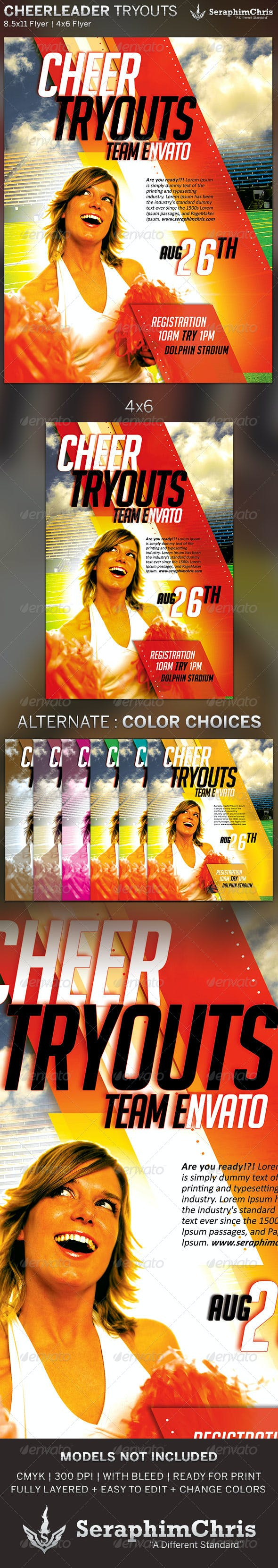 cheer leading tryout flyer template by seraphimchris graphicriver