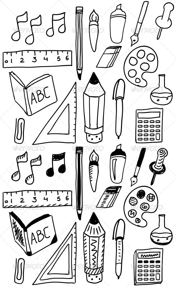 Hand Drawn Back to School Doodle Set by antishock