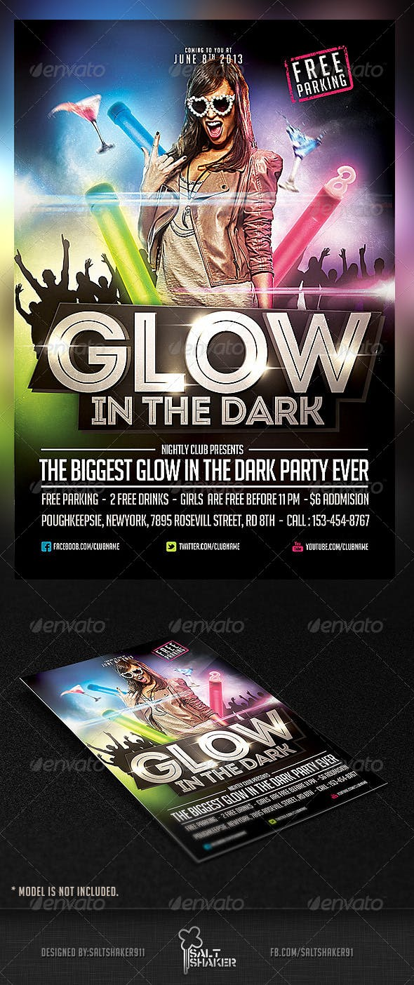 Party Brochure Template | Glow In The Dark Party Flyer Template By Saltshaker911 Graphicriver