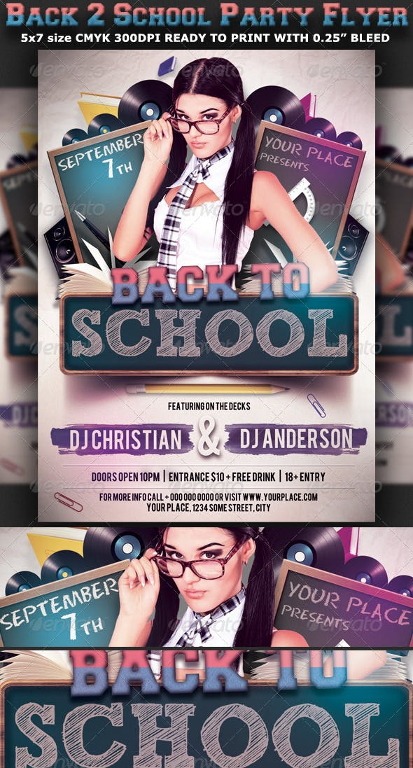 Back To School Party Flyer Template V3 By Hotpin GraphicRiver