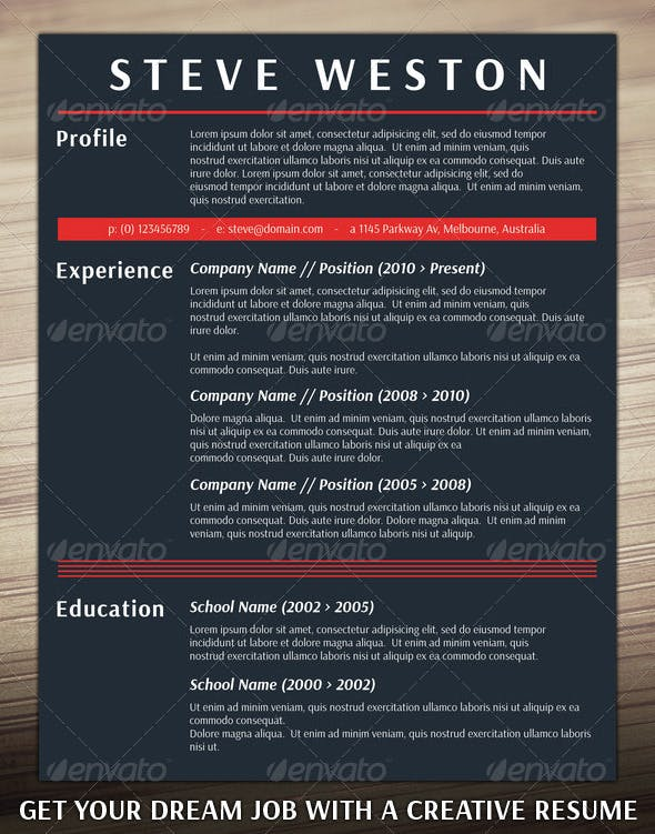 bold cv template by resumepro graphicriver
