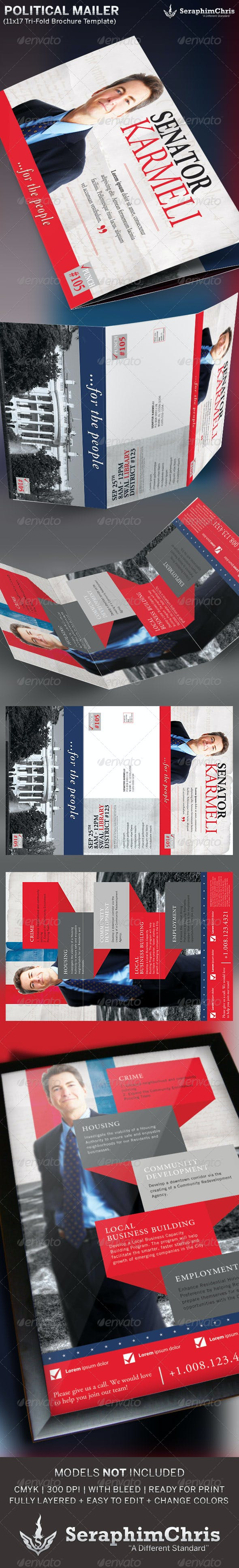 large political tri fold brochure mailer template by seraphimchris