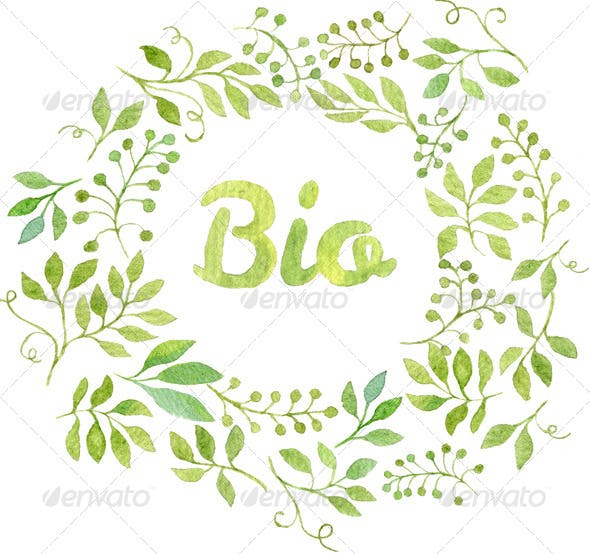 word bio in watercolor leaves wreath by helga wigandt graphicriver