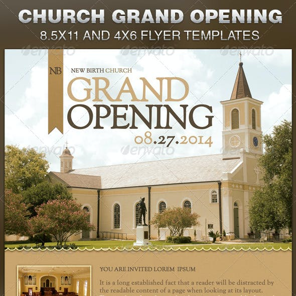 Church Grand Opening Flyer Template By Loswl