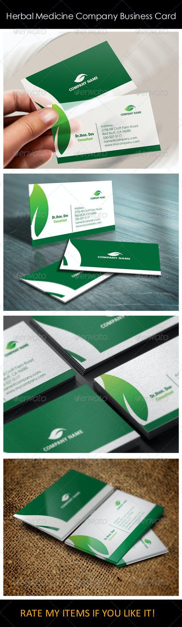Herbal Medicine Company Business Card Templates By Shujaktk