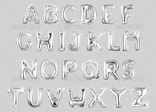 shiny silver letter balloons vectors