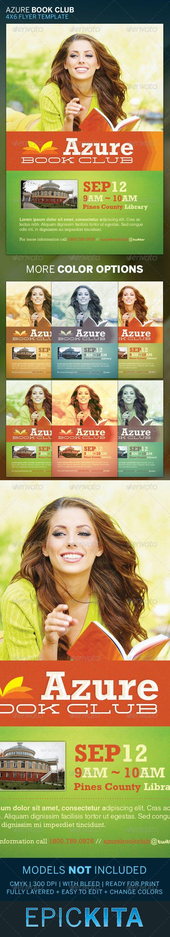 azure book club flyer template by epickita graphicriver