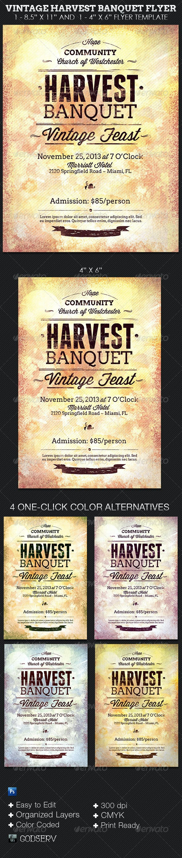 vintage harvest banquet flyer template by godserv graphicriver