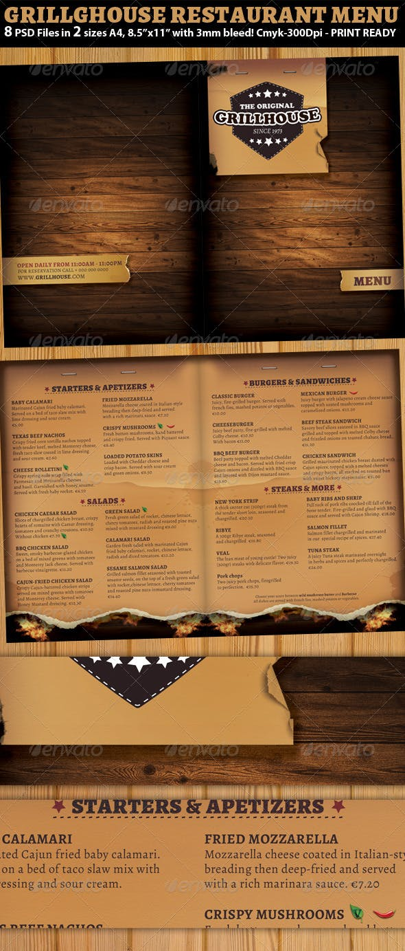 grill restaurant menu template by hotpin graphicriver