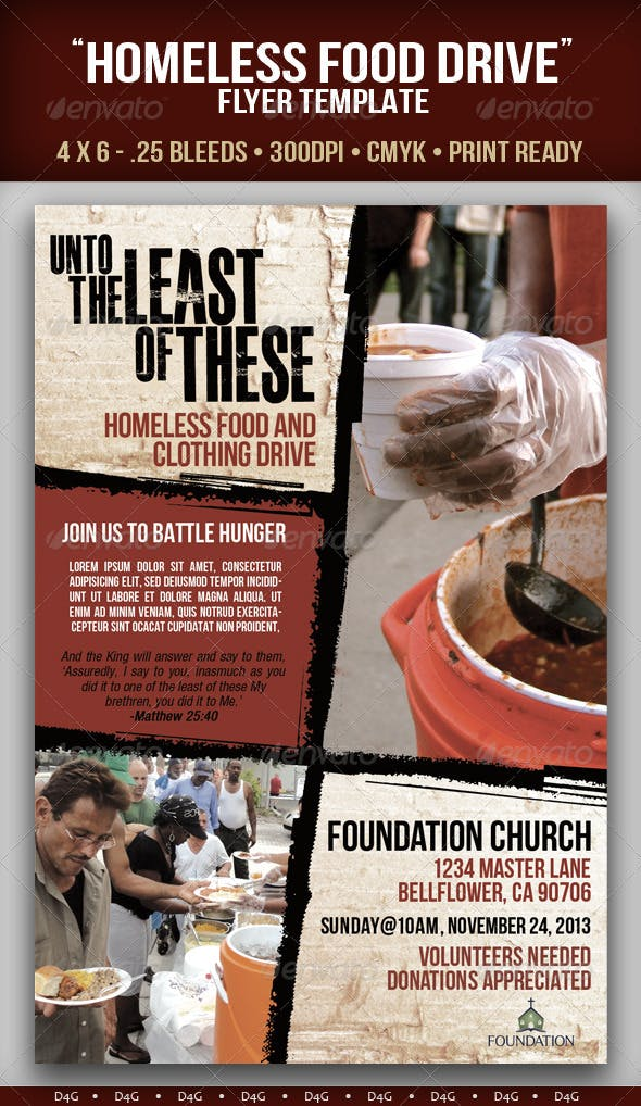 homeless food drive flyer template by d4g graphicriver