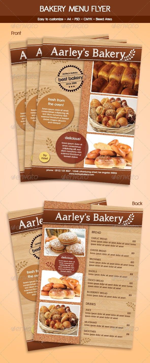 bakery menu flyer template by arifpoernomo graphicriver