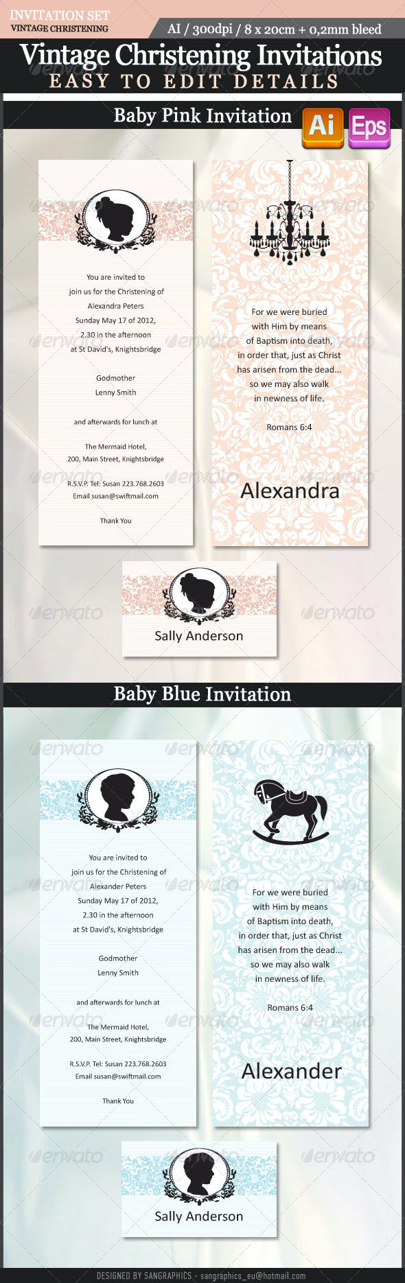 vintage christening invitations by sangraphics graphicriver