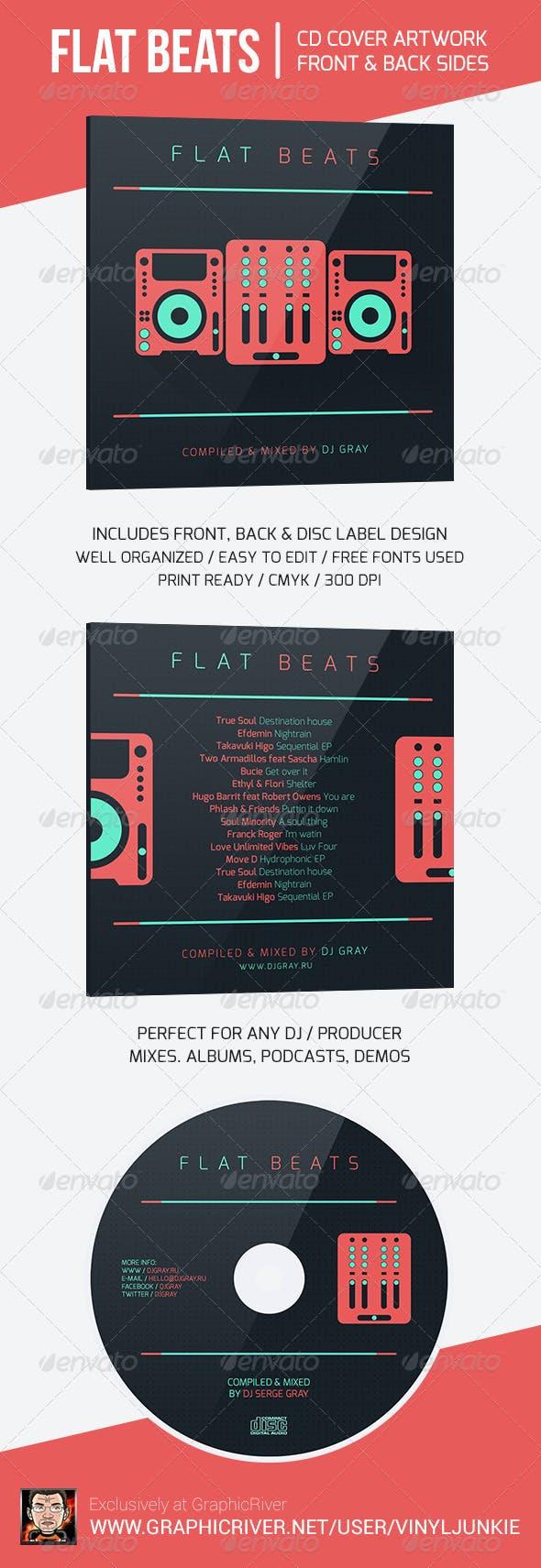 flat beats dj mix cd cover artwork template by vinyljunkie