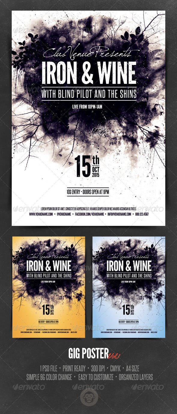 gig poster template vol1 by graphicmonkee graphicriver