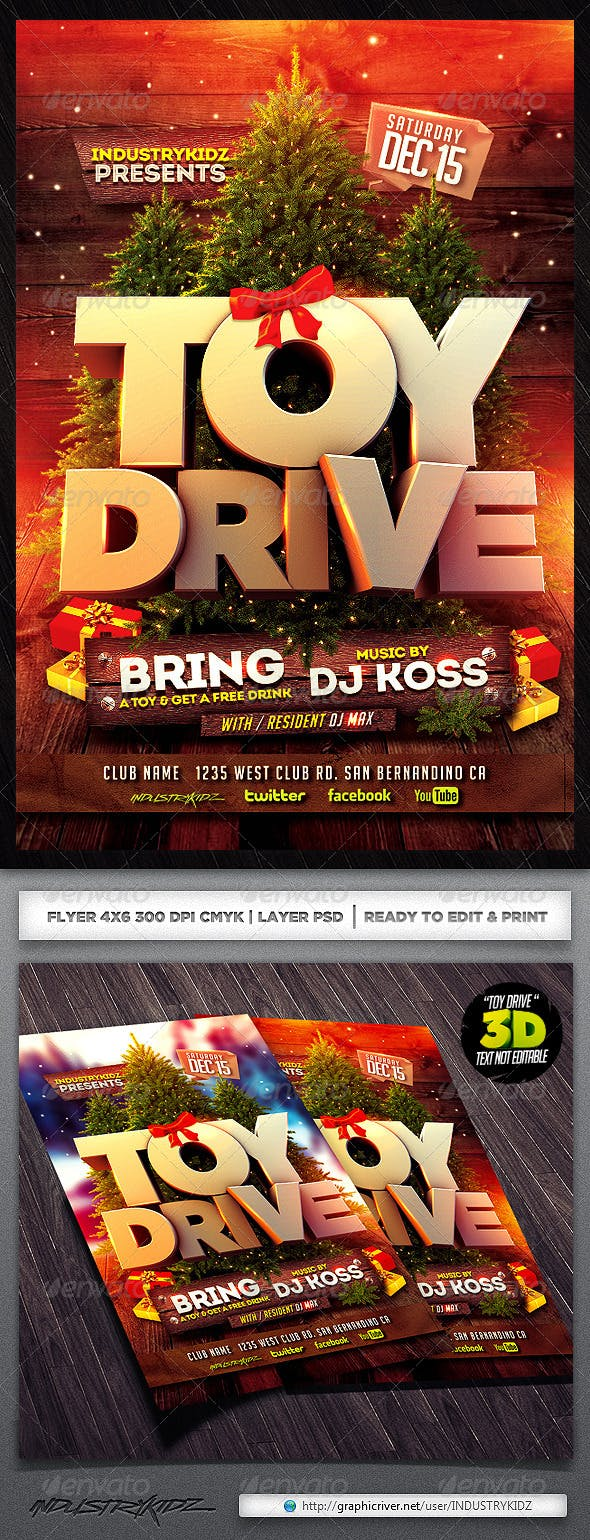 toy drive flyer template by industrykidz graphicriver
