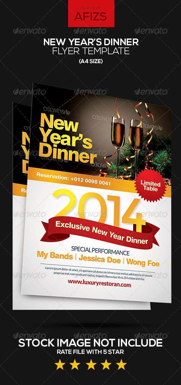new year s dinner flyer by graphicstall graphicriver