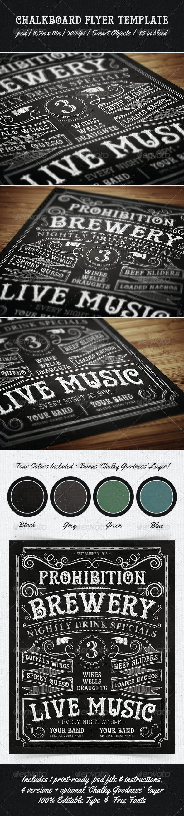 chalkboard flyer template by makemediaco graphicriver