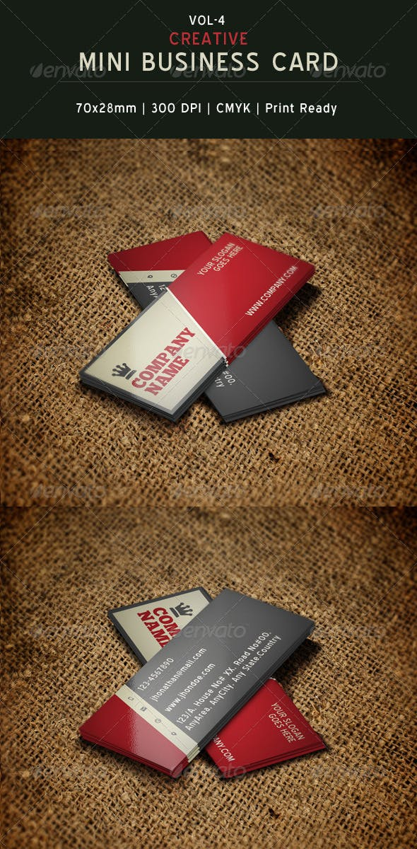Creative Mini Business Card Template 04 By Creativesourceonline