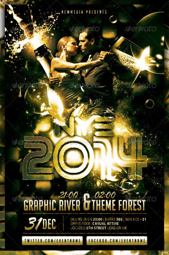 champagne new year eve party flyer poster by fadeink graphicriver