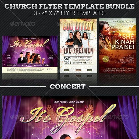 Church Concert Flyer Template Bundle