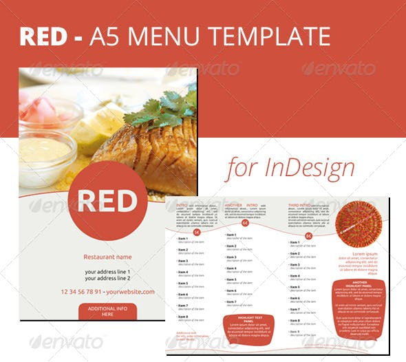 red a5 menu indesign template by netcodes graphicriver