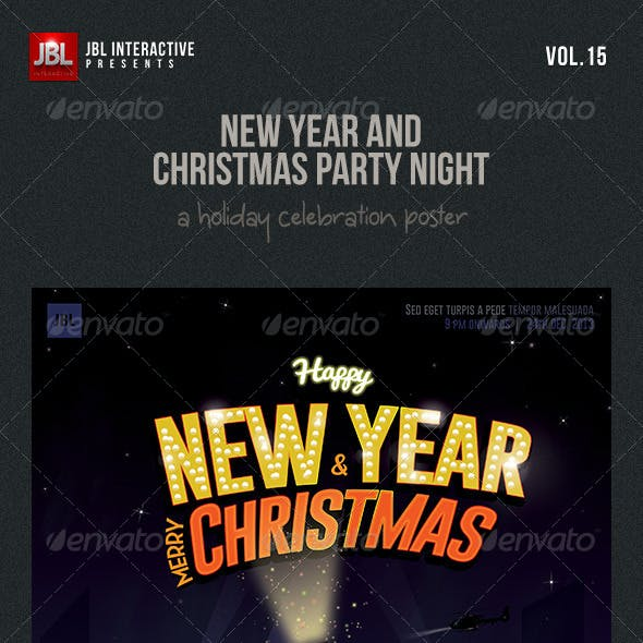 new year and christmas party night poster