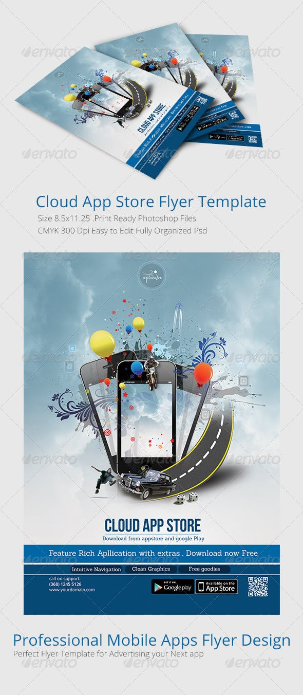 cloud app store flyer template by creativology graphicriver
